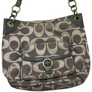Coach Grey Jacquard Fabric Hobo Bag